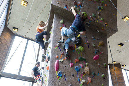 Climbers on an indoor rock-climbing wall