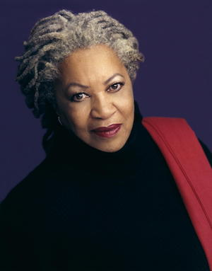 toni morrison in black sweater and red shawl,