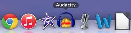 Audacity application image at the bottom of a desktop computer screen