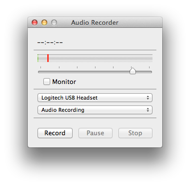 Audio Recorder window on a computer that controls levels