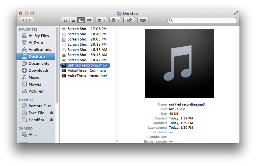 Finder window used to locate the saved Audio Recorder file