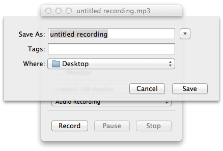 Audio Recorder window that allows you to save a file