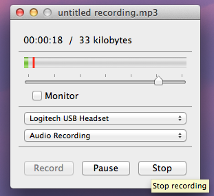 Audio Recorder window that control pause, stop, and play functions