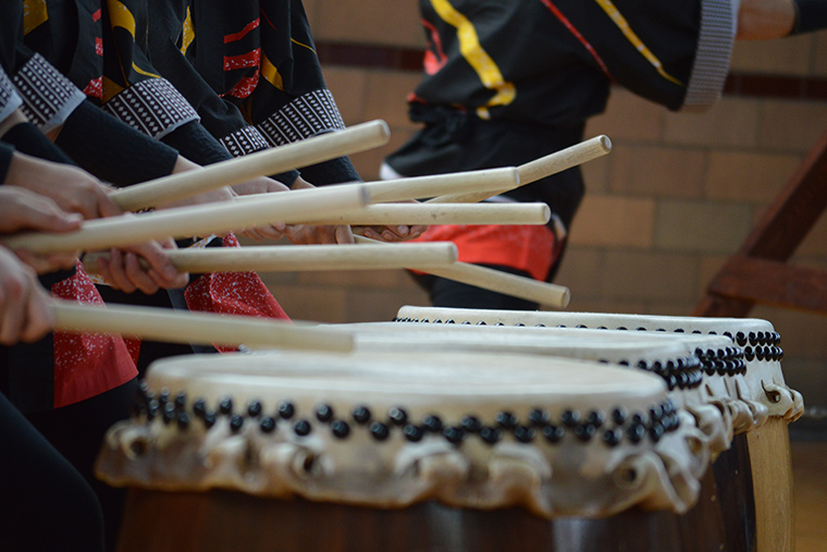 Closeup view of Taiko drums and sticks at the ready