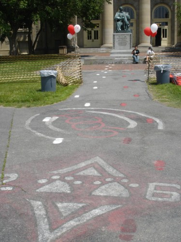 Pavement with chalk markings