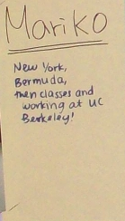 """Mariko: New York, Bermuda, then classes and working at UC Berkeley"
