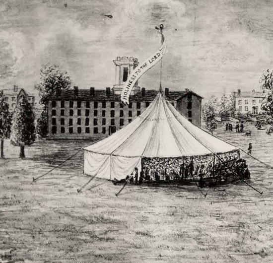 "A drawn photo of a circular tent with crowds of people inside. The tent has a flag with the words ""holiness to the lord"" and is sitting in  what looks to be Tappan Square in front of the Carnegie building"
