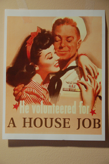 mock world war 2 poster: He Volunteered for A House Job