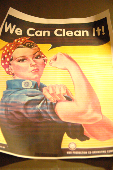 Mock Rosie the Riveter poster: We Can Clean It!