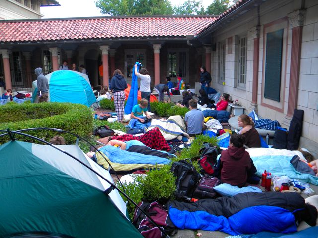 People camped out with tents and sleeping bags in the museum courtyard.