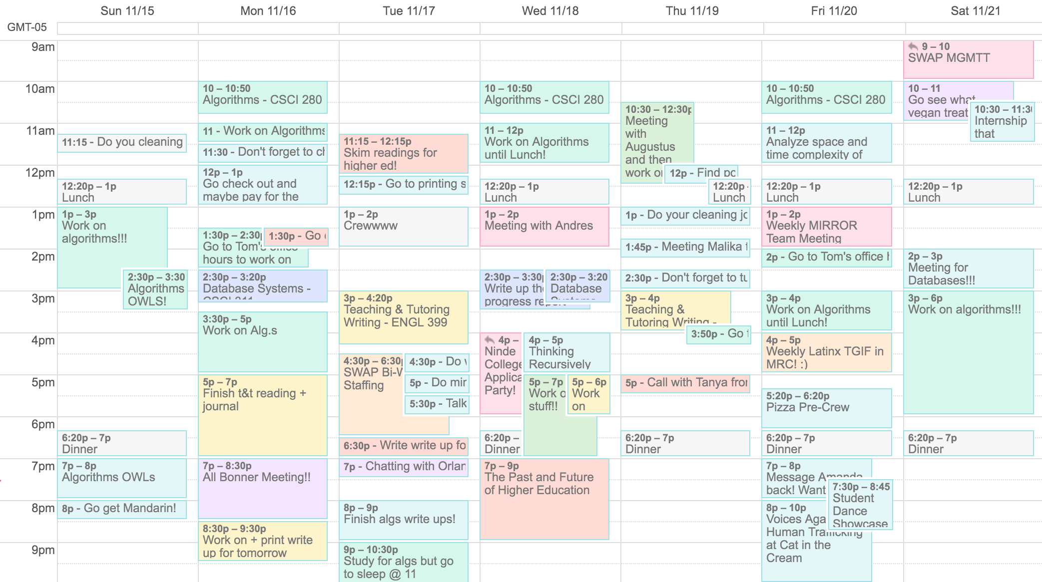 A picture of my calendar with an overwhelming number of events.
