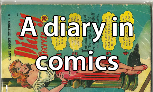 text: A diary in comics. image: Romance comic novel cover