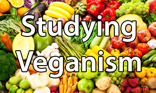 text:Studying veganism. image: Assorted fruits and vegetables.