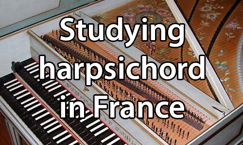 text: Studying harpsichord in France. image: An open French harpsichord