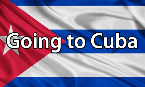 text:Going to Cuba. image:text:. image: Image of the Cuban flag.