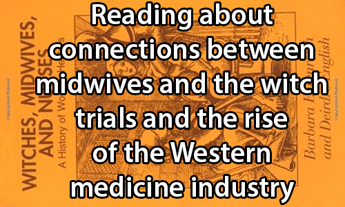 text:Reading about connections between midwives and the witch trials and the rise of the Western medicine industry. image: Book cover for a work titles Witches, Midwives, and Nurses.