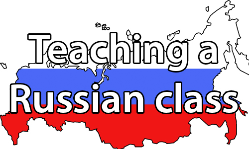 text:Teaching Russian class . image: Outline of Russian with the colors of the Russian flag, white, blue, and red, transposed over top.