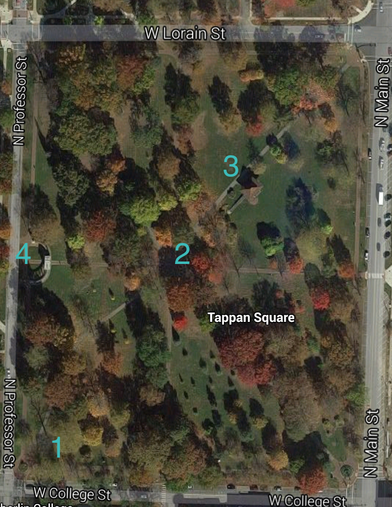 A screenshot of Google Maps view of Tappan Square, Oberlin, OH with markers numbered 1 through 4.