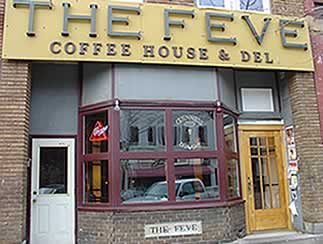 Front of building with sign, The Feve: Coffee House & Del