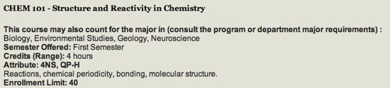 Course catalog entry for CHEM 101 in 2012-13