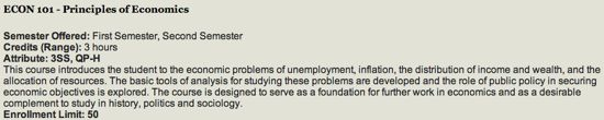 Course catalog entry for ECON 101 in 2012-13