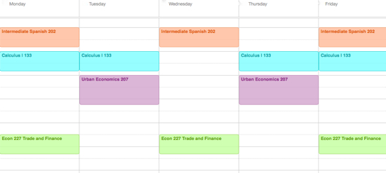 Class schedule calendar: Intermediate spanish, Calculus, Econ, And urban economics
