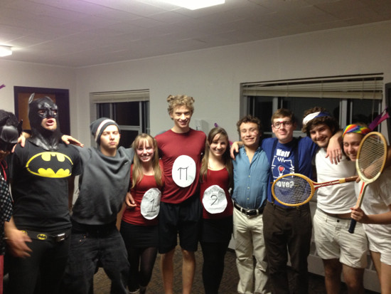 A group of students wearing costumes