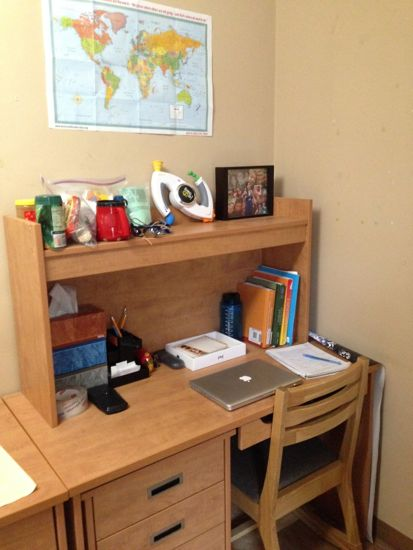 Organized desk with various items