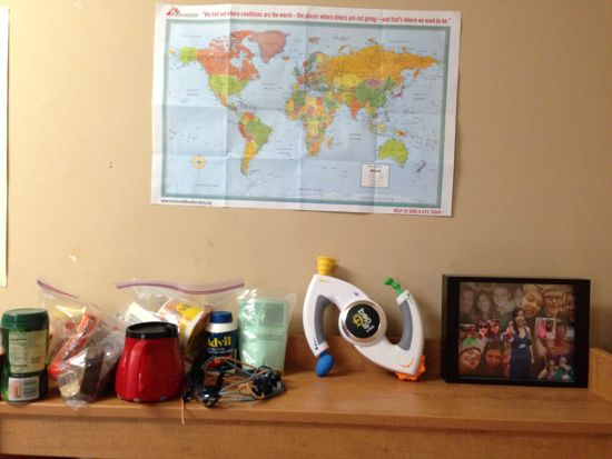 Desk shelf with food and a bop-it