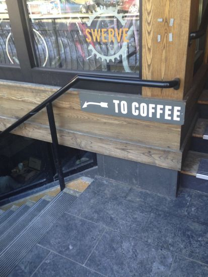 Stairs going down, with a sign 'To Coffee' pointing the way