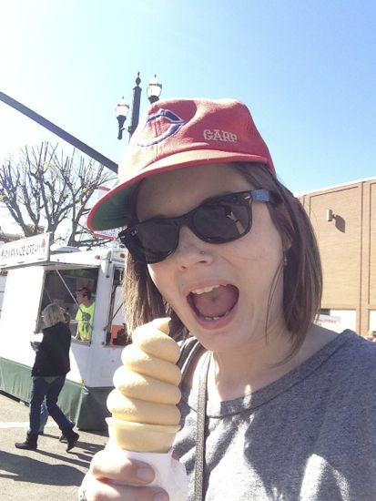 The author taking a selfie with an ice cream cone