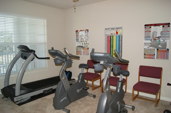 Exercise machines in a room