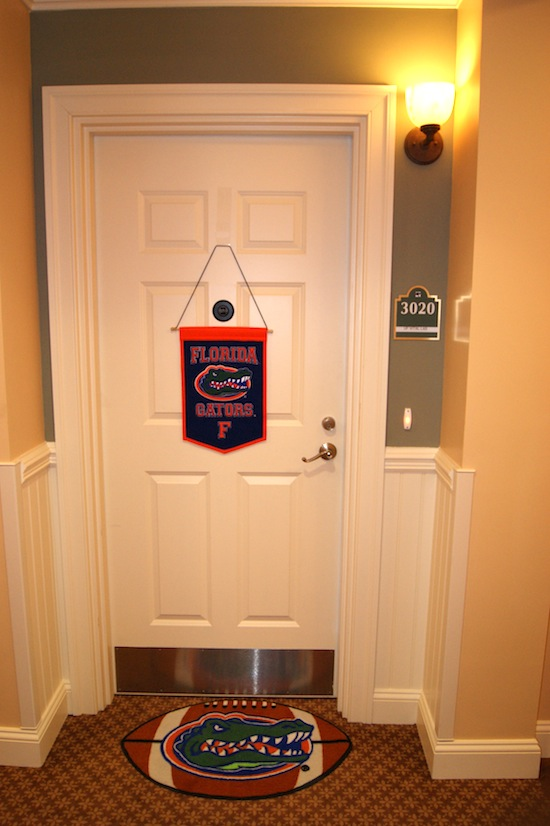 A door with Florida Gator decorations