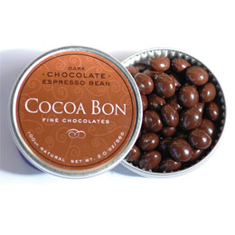 Chocolate pods in a tin