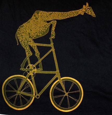 Graphic of a giraffe riding a two-story bike