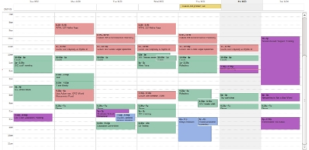 A one-week calendar shows several scheduled items each day, with gaps between many of them.