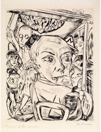 A surrealist drawing of a man looking over his shoulder with many faces and shapes behind him