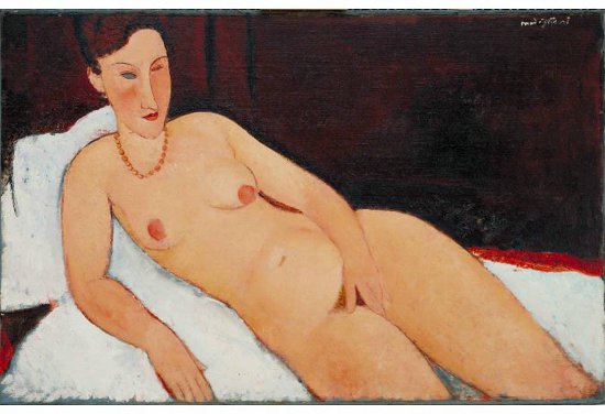Painting of a naked woman lounging