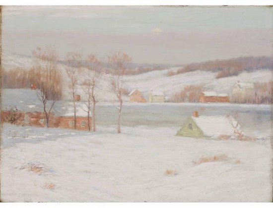 A realist painting of a snowy lake with houses surrounding