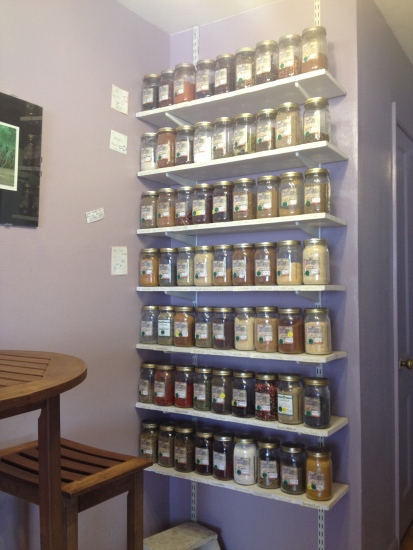 Rows of spice jars