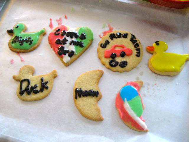 Decorated cookies on parchment paper
