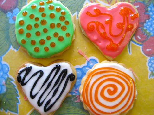 Decorated cookies with various patterns