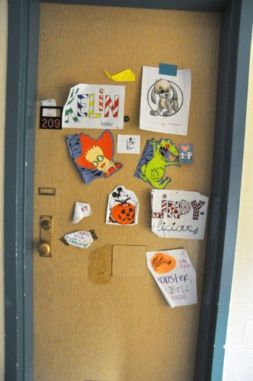 Another door covered in fun papers.