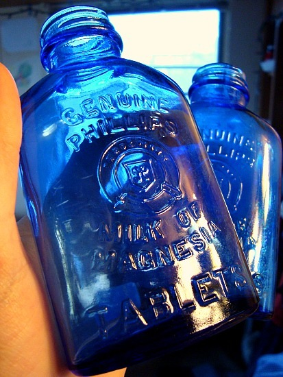 Blue glass bottle