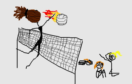 Illustration of a volleyball player spiking a volleyball in flames