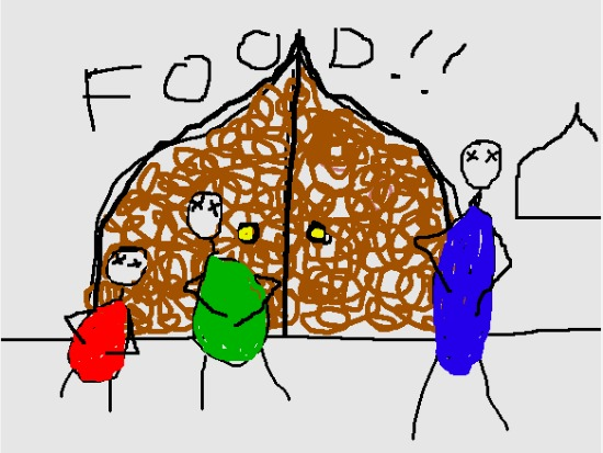 "Illustration of stick figures holding their stomachs outside of a door saying ""food!!"""
