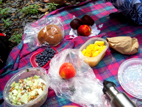 A picnic of fruit and salad