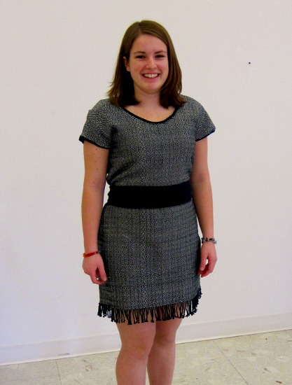 Sarah Francis poses in the finished dress