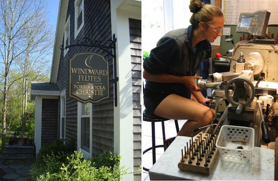 "Two pictures: a sign on a house that says ""Windward Flutes""; a girl working at a machine"