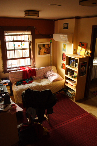 A dorm room featuring a couch, bookshelf, and a desk
